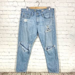 AG Piper crop slouchy slim distressed jeans 32R